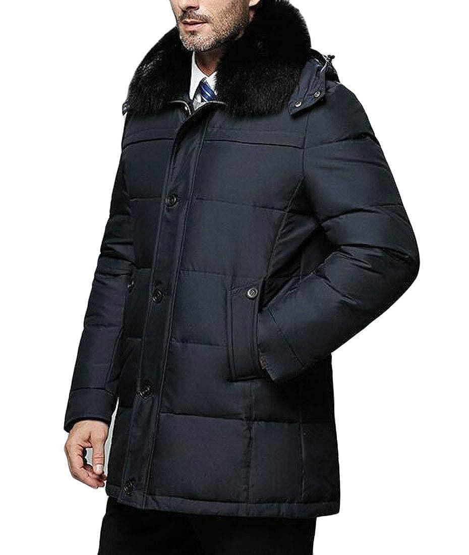Pandapang Men Stylish Puffer Fleece Hooded Faux Fur Lapel Solid Down Jacket Coat