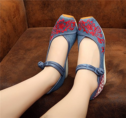 Blue Women Shoes Wedges Mary Flats Flattie Casual Embroideried Aerobic Jane Ethic Canvas EwOA1RPqx