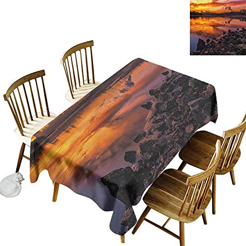 kangkaishi Rectangular tablecloths in a Variety of Colors and Sizes Can be Used for Parties USA Missouri Kansas City Scenery of a Sunset Lake Nature Camping Themed Art Photo W14 x L72 Inch Multicolor -