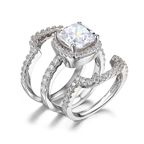 Jewelrypalace Womens 6.87ct Engagement Ring Bridal Set 925 Sterling Silver CZ Size 7