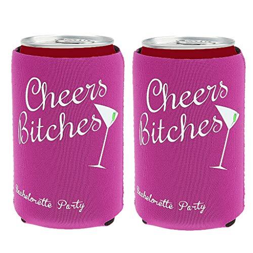 BROSCO 2pcs Beer Bottle Cooler Sleeves Holders Wedding Favor Cheers Bitches
