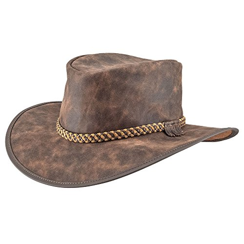 (American Hat Makers Crusher by American Outback Leather Hat, Bomber Rust - Large)