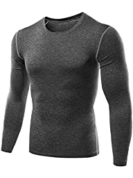 Neleus Men\'s 3 Pack Athletic Compression Sport Running T Shirt Long Sleeve Base Layer,Black,Grey,Blue,Large