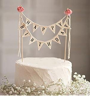 Amazoncom ELSKY Mini Happy Birthday Cake Bunting Banner Cake
