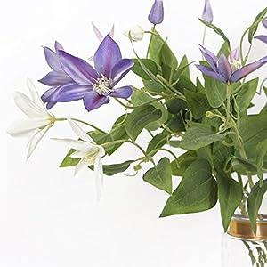 Li Hua Cat FrenchHigh-endViolet/WhiteClematisartificialflower/flowerarrangementfortable,desk,room,shop,photography,wedding,DIY,etc (White) 3