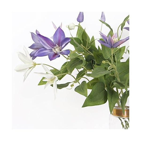 Li-Hua-Cat-French-High-end-VioletWhite-Clematis-artificial-flowerflower-arrangement-for-table-deskroomshopphotography-weddingDIYetc-White