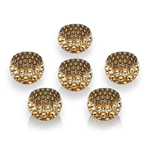 Speckled Amber Glass (Tea Light Holders Glass Vintage Mercury Candle Holder- Set of 6 Amber Gold …)