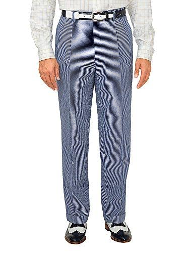 Paul Fredrick Men's Cotton Seersucker Pleated Suit Pants Navy/Blue 38 by Paul Fredrick