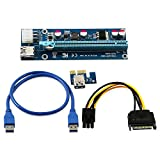 3 Pack 6-Pin Powered PCI-E PCI Express Riser - VER 006C - 1X to 16X PCIE USB 3.0 Adapter Card - With USB Extension Cable - GPU Graphic Card Crypto Currency Mining