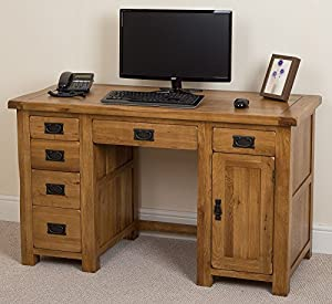 Cotswold Rustic Solid Oak Wooden Computer Desk Home Office Furniture Workstation 135 X 60 X
