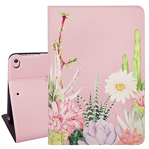 Flower iPad Mini Case 4/5, Cactus Flower Design 7.9 Inch Folio Stand iPad Cover, Pink Protective Slim Smart Tablet Case for iPad Mini 4th Gen and iPad Mini 5th Gen 2019 with Auto Sleep/Wake Function