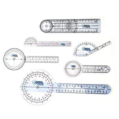 (ASATechmed 6pcs 360° 12/8/6 Inch Medical Spinal Goniometer Angle Protractor Angle Ruler)