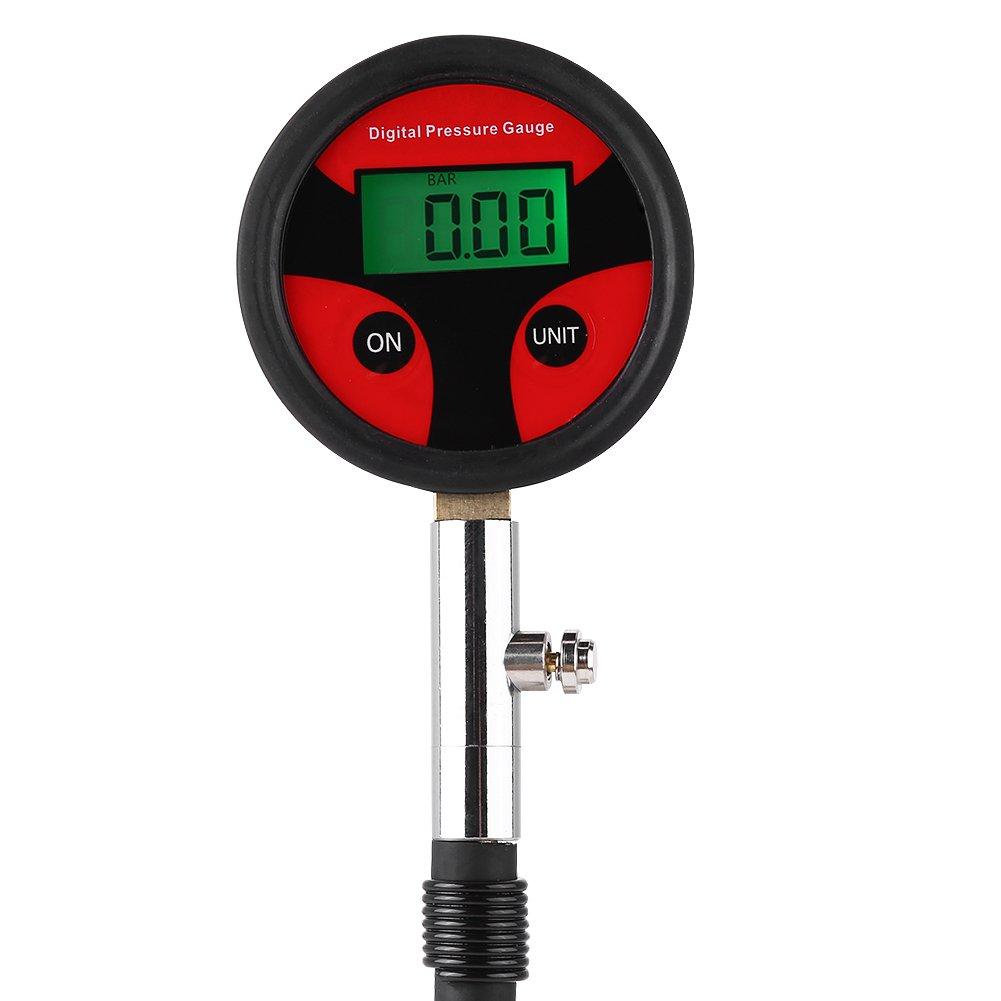 Qiilu Manómetro digital de neumáticos LCD con núcleo de neumático ...