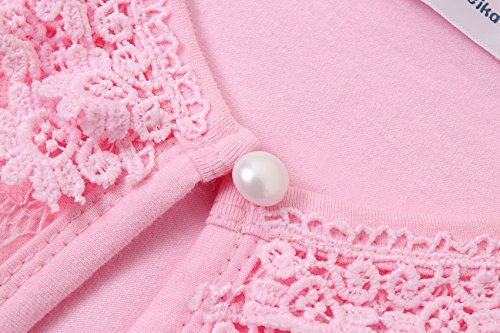 5-6, Pink Zhuannian Little Girls Long Sleeve Lace Bolero Cardigan Shrug