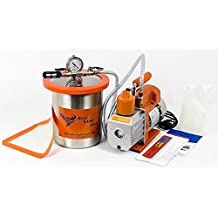 1 Gallon Best Value Vacs Tall Stainless Steel Vacuum Chamber & 3 CFM Single Stage RS-1 Vacuum Pump *FREE SHIPPING*