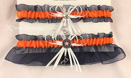 Blue and Orange Houston Inspired Baseball Bridal Garter ()