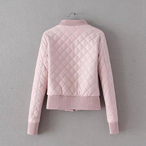 Baymate Invierno Mujer Moto Abrigos Pink Biker Chaquetas Imitacion Cremallera Piel Cazadoras Jackets Deportiva 66q5r1xAw