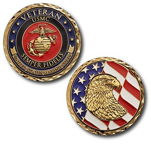 NEW USMC Marine Corps Veteran Challenge Coin -size 1 3/4