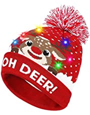 Light Up Hat,Coeuspow LED Light Up Beanie Hat Knit Cap with Copper Wire 6 LED Colorful Lights for Party,Lightshow,Jogging,Walking,Dancing,Christmas Gift