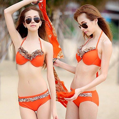 ZHANGYONG*Trajes de baño 3 piezas modelo bikini pecho grande pequeñas partículas de acero de resorte y pecho sexy bañador split ,L, naranja
