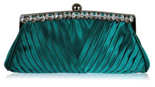 Ladies Teal Blue Satin Ruched Evening Clutch Wedding Bag, Bags Central
