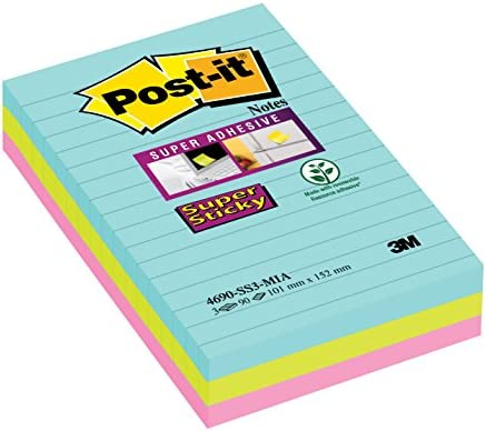 Post-it, Farbige Haftnotizen, Sticky Notes in der Miami Kollektion, Bunte Klebezettel und Haftnotizzettel, Notizzettel für Büro und Studenten, 3 Blöcke à 90 Blatt, Liniert, 101 x 152 mm