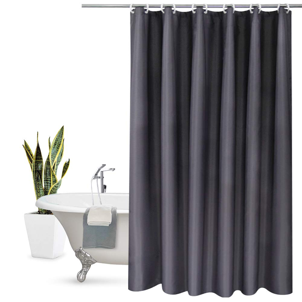 Aoohome Stall Shower Curtain 36 x 72 Inch, Solid Fabric Bathroom Curtain for Hotel with Hooks, Mildew Resistant, Waterproof, Dark Grey