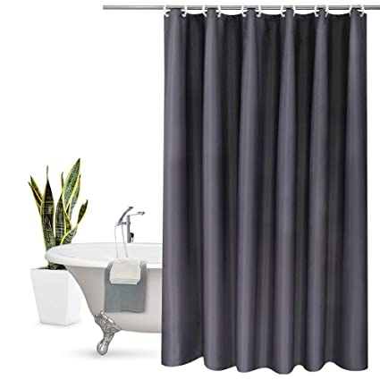 Aoohome Fabric Shower Curtain Liner Solid Hotel Mildew Resistant Water Repellent