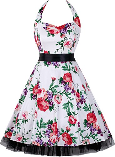 OTEN Women's Floral Vintage 1950s Halter Rockabilly Gown Cocktail Party Dress (Large, Floral White)