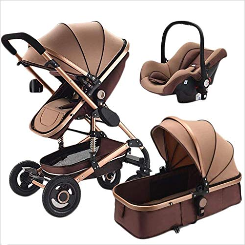 Zsail Pushchairs 3-in-1 Stroller Multi-Function Two-Way High Landscape Shockproof Sitting and Lying Folding Pram Portable Travel Baby Carriage Brown