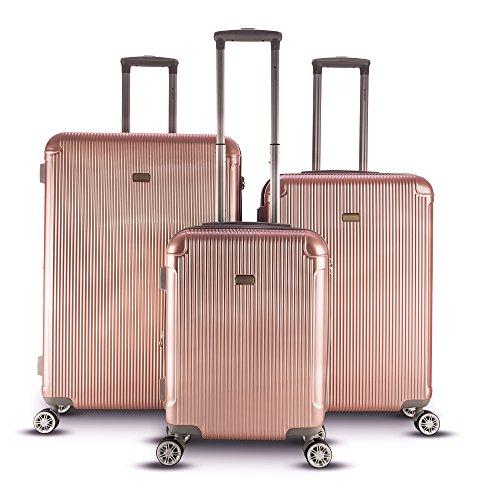Gabbiano Genova 3 Piece Expandable Hardside Spinner Luggage Set (Rose Gold) by Gabbiano