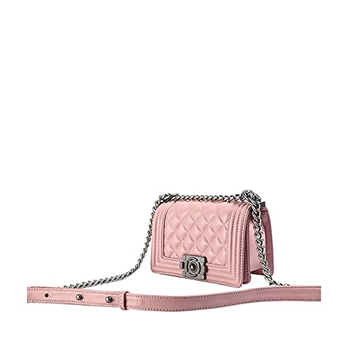 Ainifeel Women s Genuine Leather Quilted Handbags with Chain Strap Shoulder  Handbags (Medium 9d53de4a26477