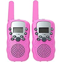 Camonity Two Pack 22 Channel Walkie Talkies for Kids Children Two Way Radio Long Range 2 Miles Open Field Handheld Children Toy for Family Game Pink