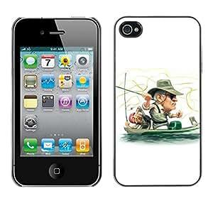 // PHONE CASE GIFT // Duro Estuche protector PC Cáscara Plástico Carcasa Funda Hard Protective Case for iPhone 4 / 4S / Funny Fisherman /