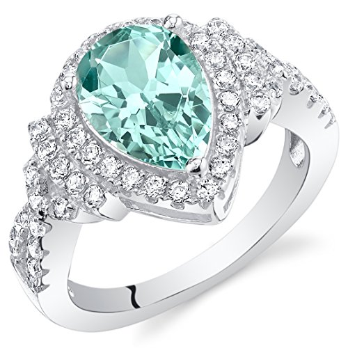 Bling Rings Wholesale (Simulated Paraiba Tourmaline Sterling Silver Tear Drop)