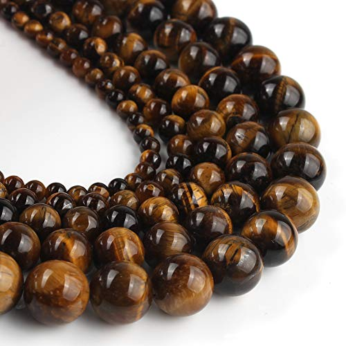 Yochus 10mm Yellow Tiger Eye Round Loose Beads Natural Stone Beads for Jewelry Making