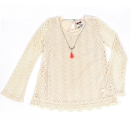 Cream Blouse Top (Big Girls Crochet Bell Sleeve Top and Necklace Cream M)