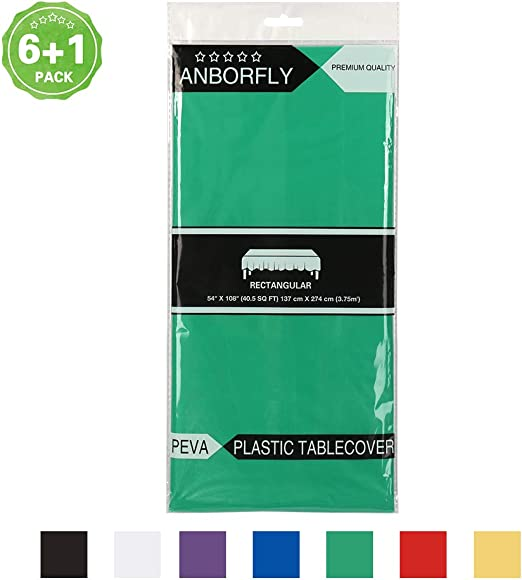 White 7 pack premium disposable plastic table cover 54x108 inch-waterproof for r