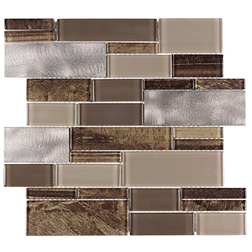 Metal Mosaic Tile - MTO0005 Modern Linear Brown Gray Glossy Glass Metal Mosaic Tile