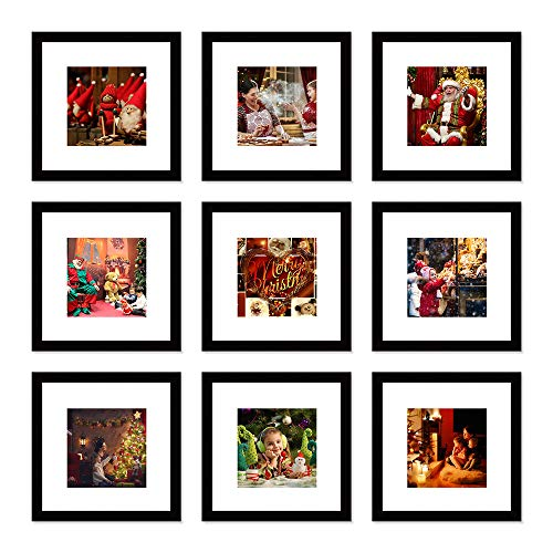 WOOD MEETS COLOR Picture Frames Set Wall Gallery Collage Frames Photo Mats (9-12x12) (Collage Frame Set)