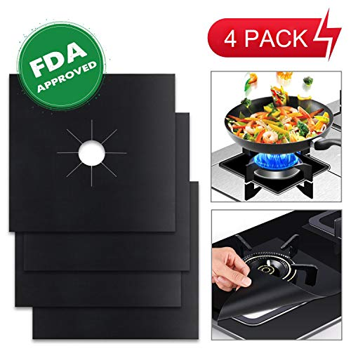 "Black Gas Propane Range - Stove Burner Covers Reusable Gas Stove Protectors Non-stick Stovetop Burner Liner Cover-Size 10.6""x 10.6""-Double Thickness 0.2mm FDA Approved Dishwasher Safe Heat-resistant 4 Pack"