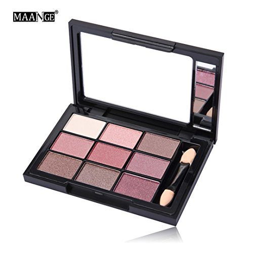 NOMENI 9 Color+Brush Set Cosmetic Matte Eyeshadow with Mirror Cream Makeup Palette Shimmer Set (Cargo Eye Lighter)