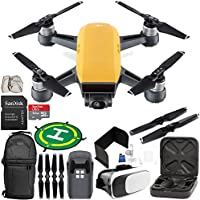 DJI Spark Portable Mini Drone Quadcopter (Sunrise Yellow) EVERYTHING YOU NEED Starter Bundle