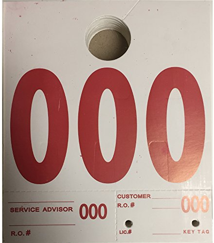 RL-78 Auto Service Dispatch Numbers Mirror Tags 3-Digit (White) 1000/box (Rear View Mirror Tags)