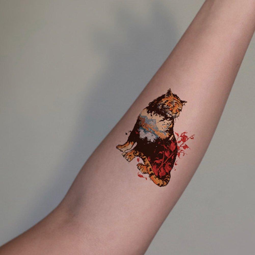TAFLY - Adhesivos temporales para tatuaje de tres tigre (5 hojas ...