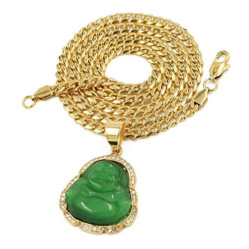 Raonhazae Stainless Steel Gold Iced Out Smiling Chubby Buddha (Green Jade) Pendant w/Cuban Chain (24)