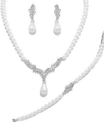 Cristal Perle Plaqué Or Collier Pendentif Boucles D/'oreilles Clous Mariage Bijoux Set
