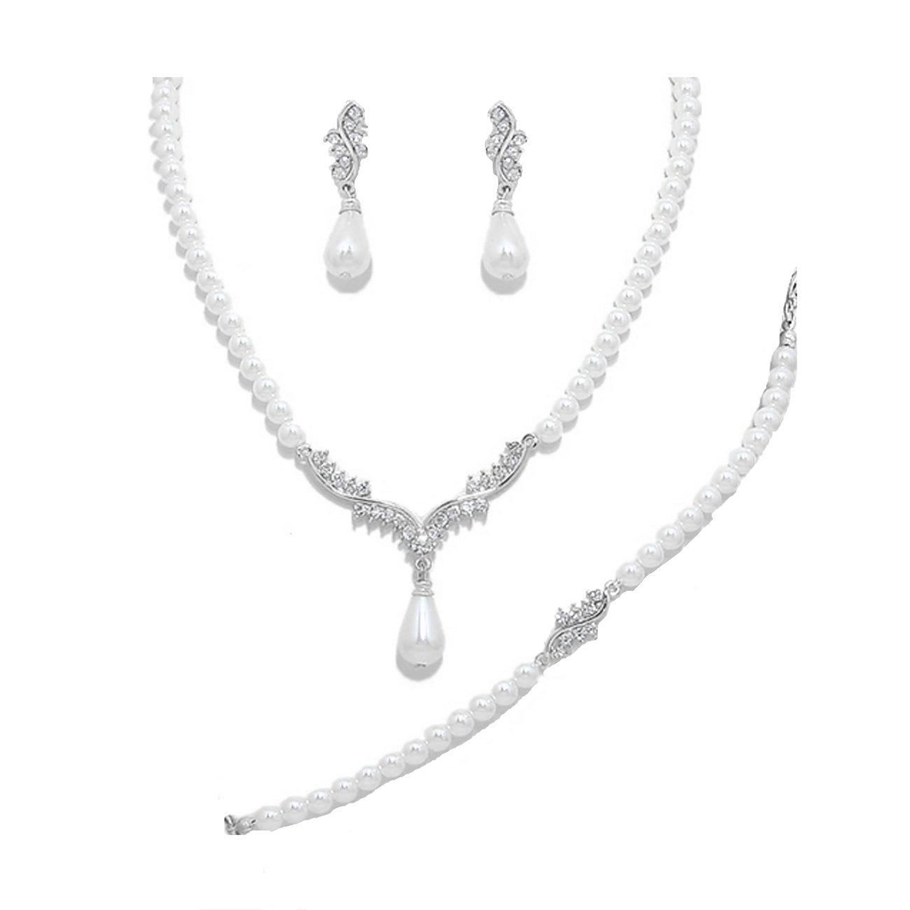 Mariage feines Parure de mariée mariage Kit Bijoux Collier avec bracelet boucles d'oreilles perles Blanc avec Cristal Transparent Schmuckanthony 7238NS