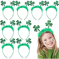 8-Pieces Max Fun St. Patrick's Day Green Shamrock Clover Irish Headbands