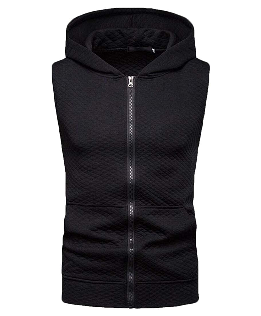 CYJ-shiba Mens Workout Hooded Hoodies Zip Hipster Sleeveless Waistcoat Vest